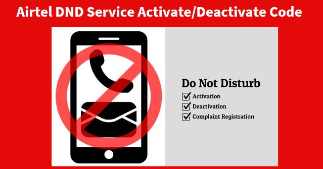 How to Activate Deactivate Airtel DND Service