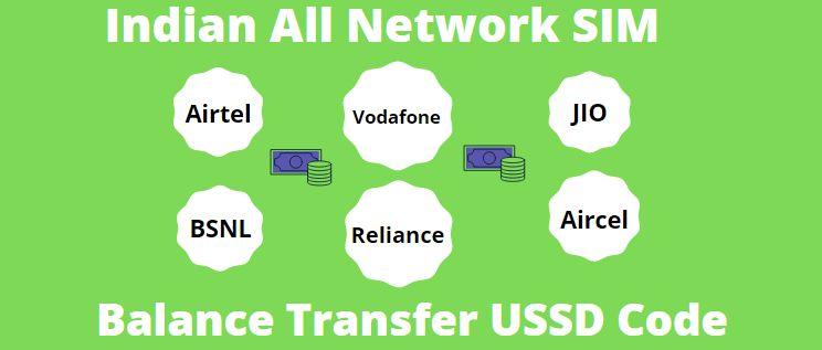 All SIM Main Account Balance Transfer USSD Codes